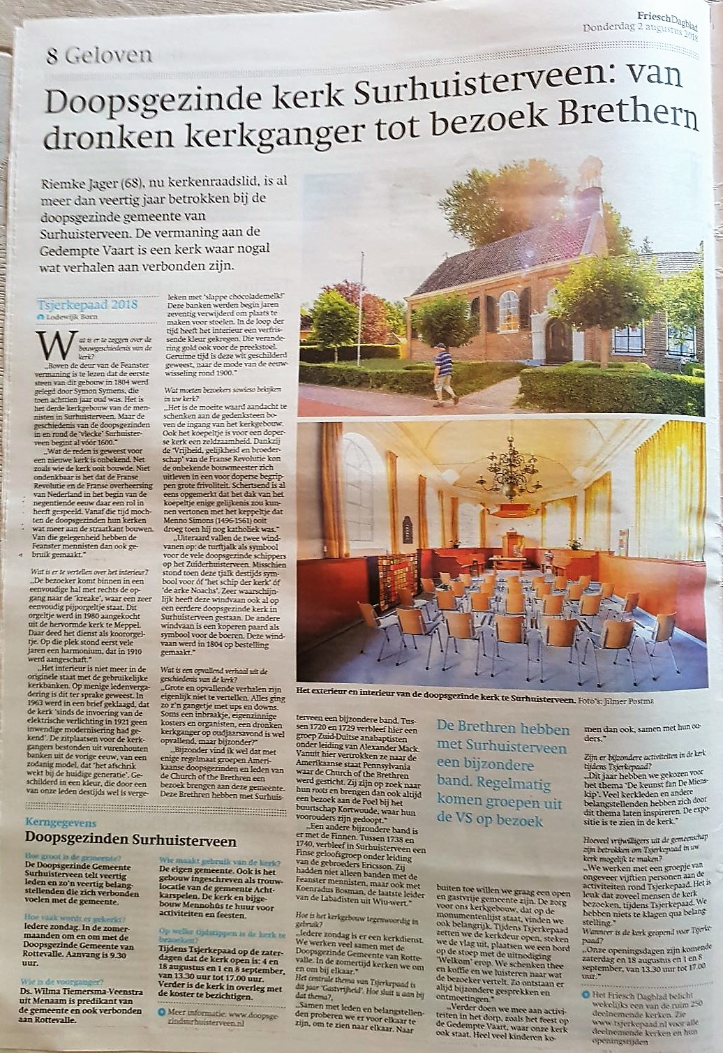 Reportage kerk in Friesch Dagblad